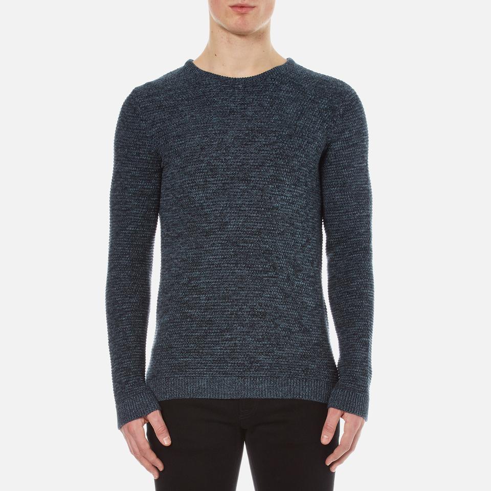 Selected Homme Mens New Vince Bubble Crew Neck Sweatshirt Dark Sapphire L