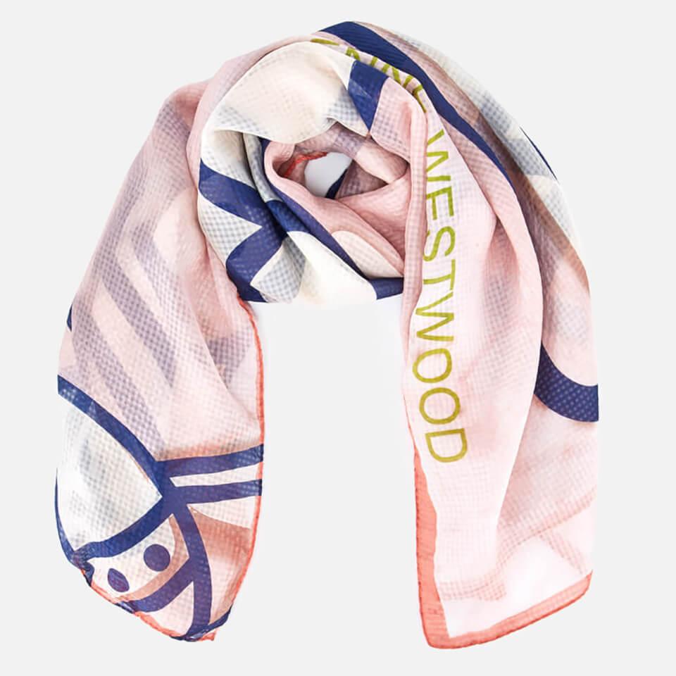 Vivienne Westwood Womens Mantero Silk Seersucker Scarf Pink