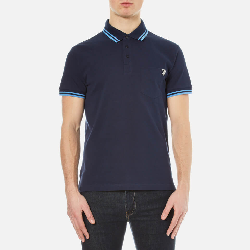Versace jeans men 39 s small logo polo shirt with back print for Polo shirt and jeans