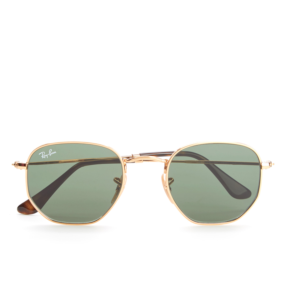 ray-ban-hexagonal-metal-frame-sunglasses-gold-green
