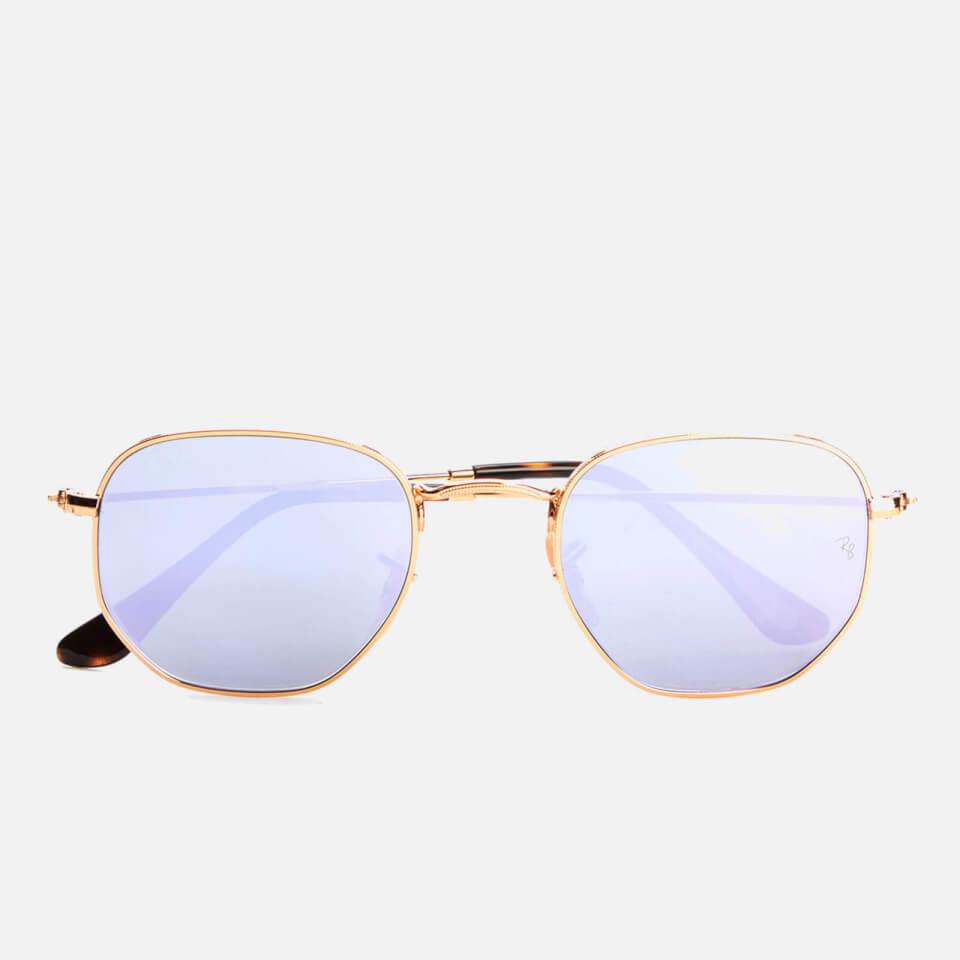 09310897e5 Ray-Ban Hexagonal Metal Frame Sunglasses - Gold Wisteria Flash Womens  Accessories