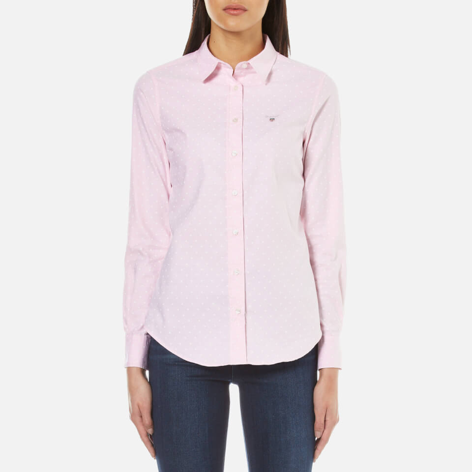 Gant Women S Stretch Oxford Printed Dot Shirt Light Pink