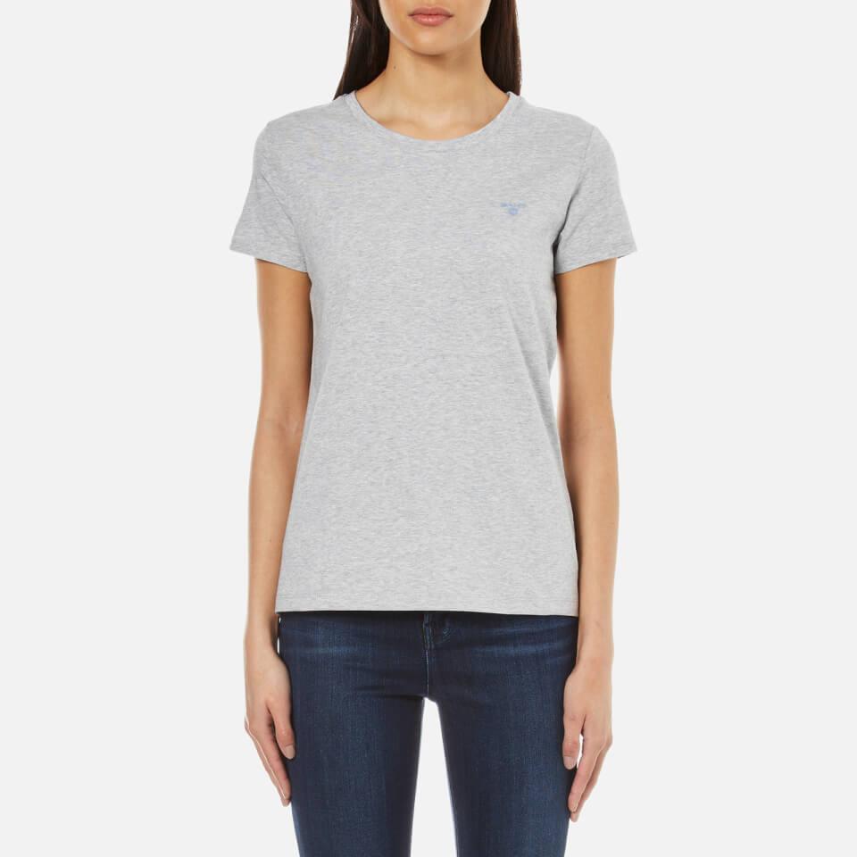 GANT Women's Cotton/Elastane Crew Neck T-Shirt - Light Grey Melange - S