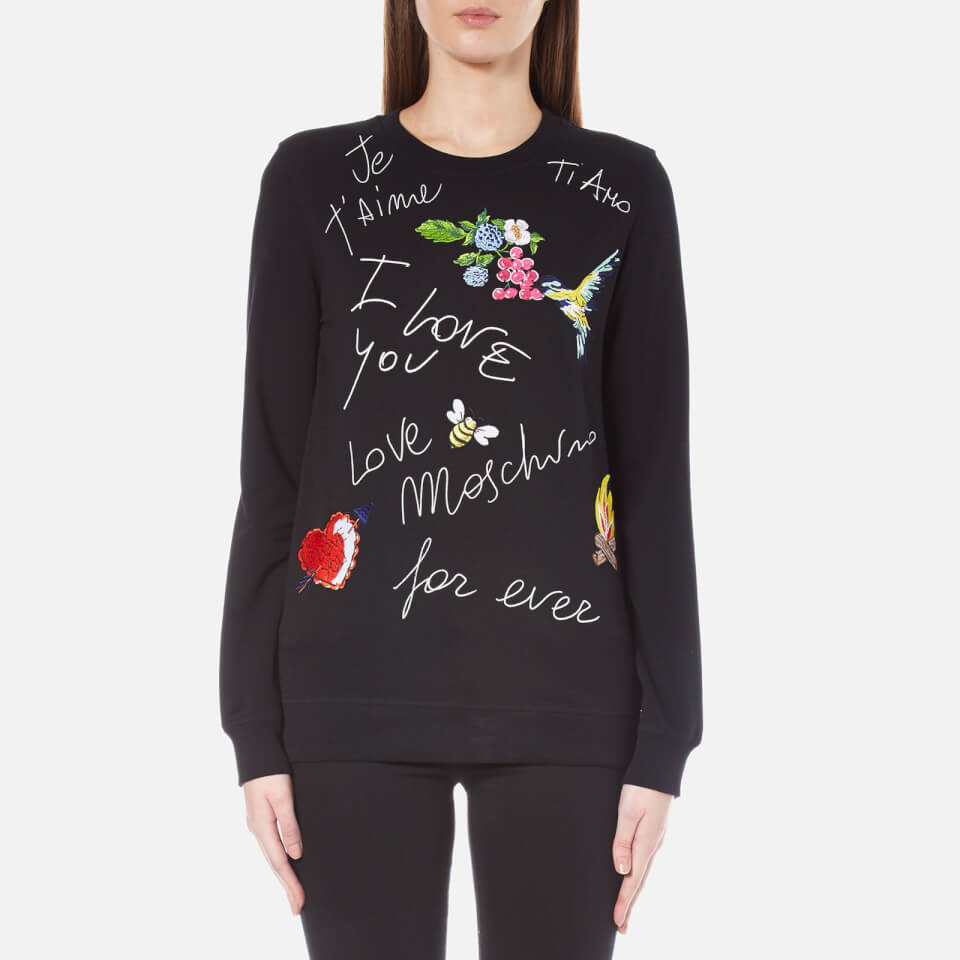 100f5c60f Love Moschino Women's Birds and Flowers Logo Sweatshirt - Black - Free UK  Delivery over £50