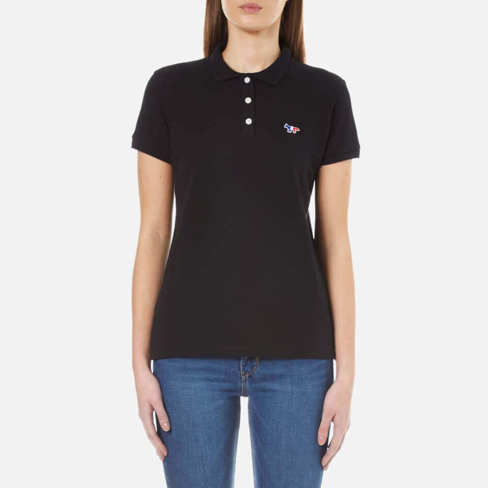 Maison Kitsun+Womens Fox Patch Polo Shirt Black M