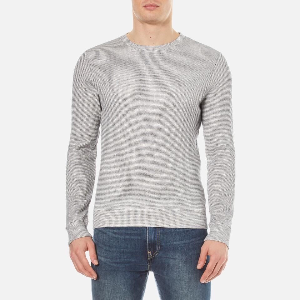 A.p.c. Mens Dennis Crew Neck Sweatshirt Bleu Gris Chine Xl