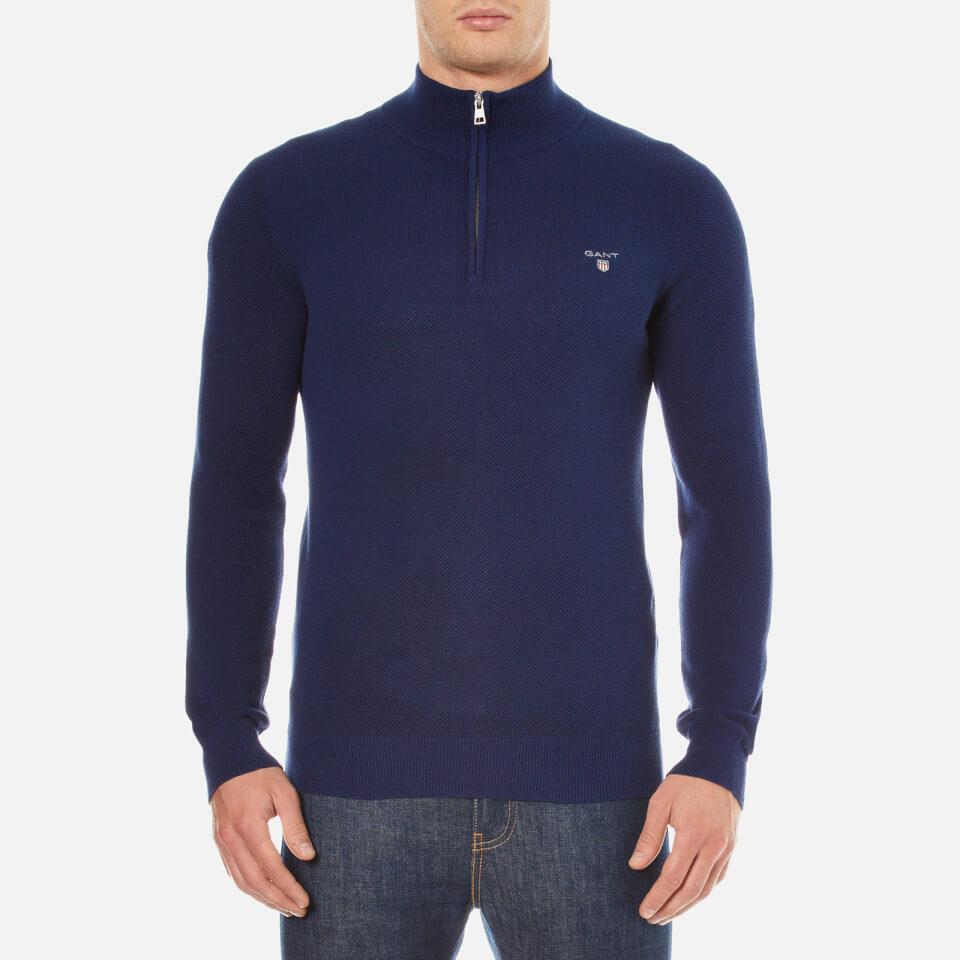 Gant Mens Cotton Pique Half Zip Sweatshirt Persian Blue S