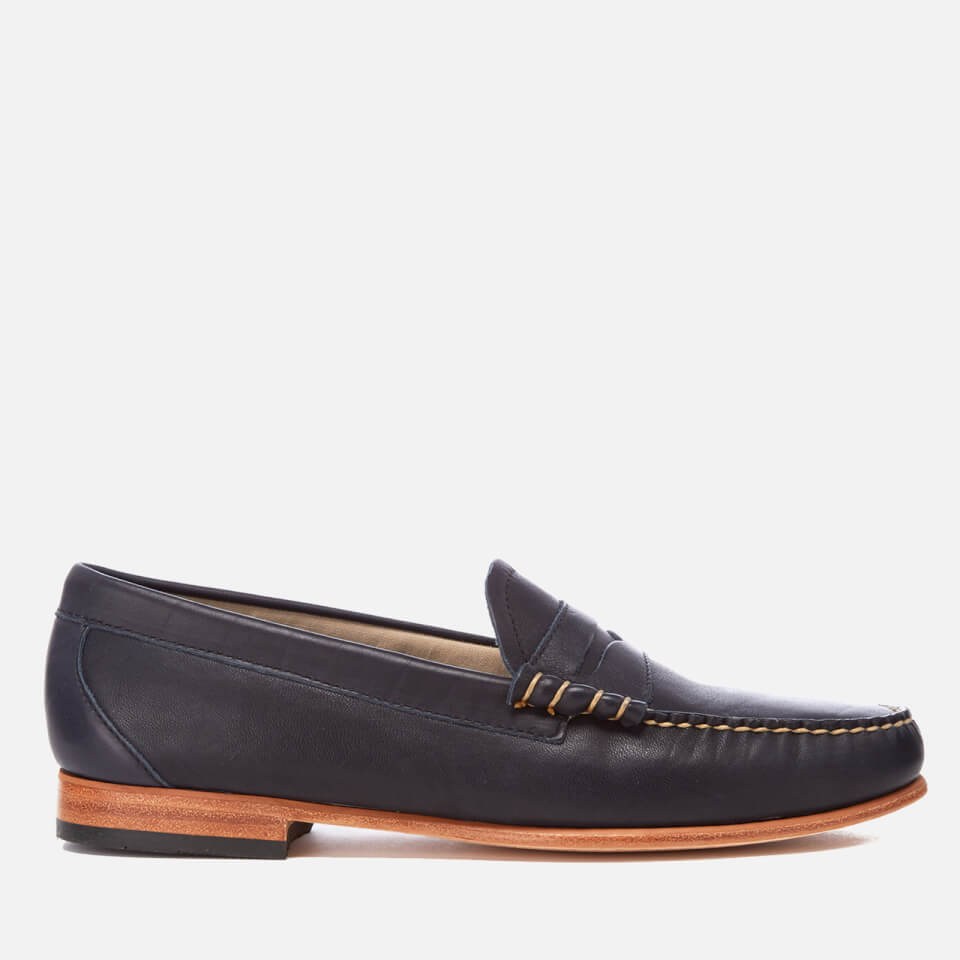 Bass Weejuns Mens Palm Springs Larson Mon Leather Penny Loafers Navy Uk 10
