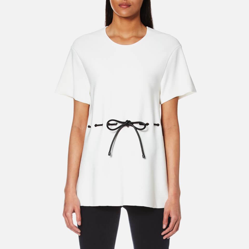 Alexander Wang Womens Peplum T-shirt With Leather Drawstring Cord White S