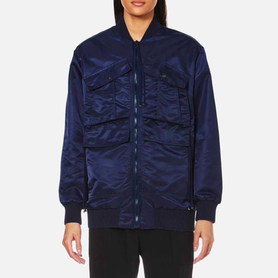 Kenzo Womens Nylon Longline Bomber Jacket With Logo Midnight Blue S