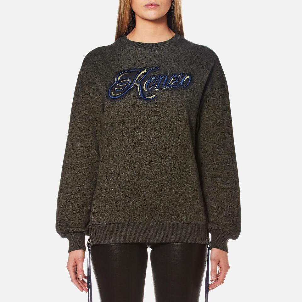 Kenzo Womens Light Cotton Molleton Oversized Logo Sweatshirt Dark Khaki Xs