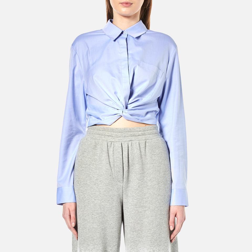 T By Alexander Wang Womens Cotton Twill Twist Front Long Sleeve Shirt Chambray Uk 12/us 8