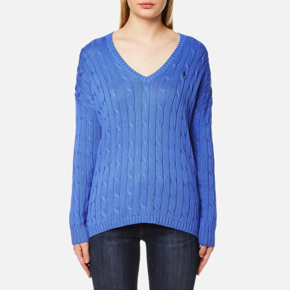 Polo Ralph Lauren Womens V-neck Side Slit Jumper Brookfield Blue M