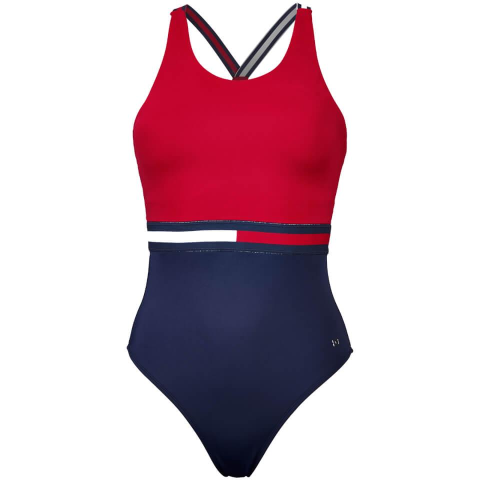 tommy hilfiger women 39 s hanalei bathing suit crimson navy. Black Bedroom Furniture Sets. Home Design Ideas