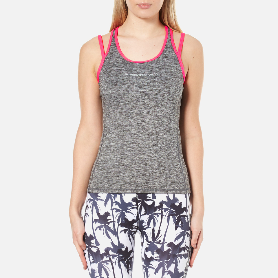 Superdry Womens Superdry Gym Duo Strap Vest Charcoal Grit L