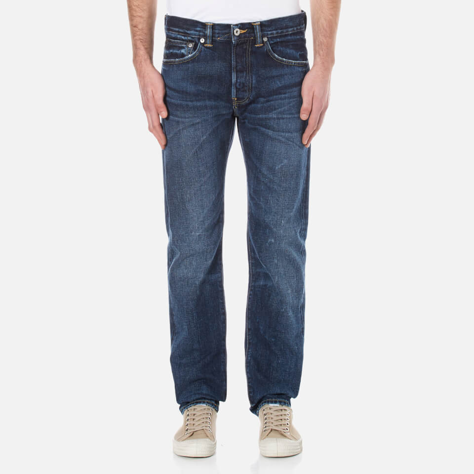 Edwin Mens Ed-80 Slim Tapered Red Listed Selvedge Denim Jeans Contrast Clean Wash W36/l34