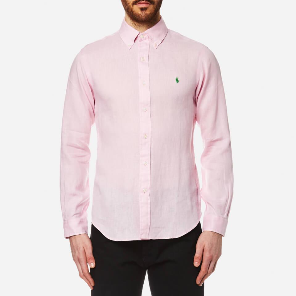Polo ralph lauren men 39 s linen long sleeve slim fit shirt for Pink and white ralph lauren shirt