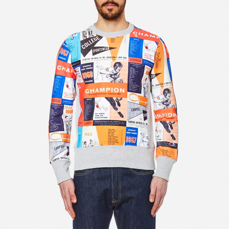 Champion Mens Reverse Weave All Over Print Sweatshirt Multi L