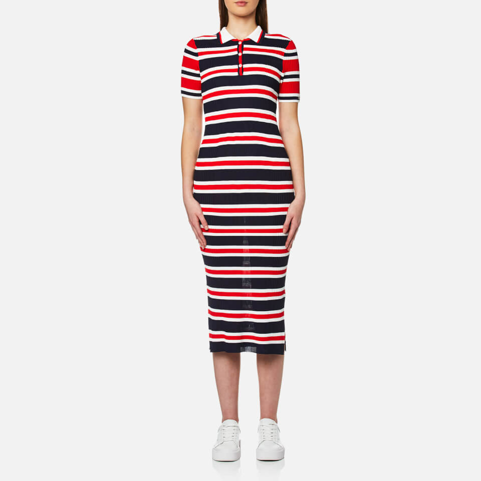 Tommy Hilfiger Womens Erin Striped Polo Dress Peacoat/fiery Red S
