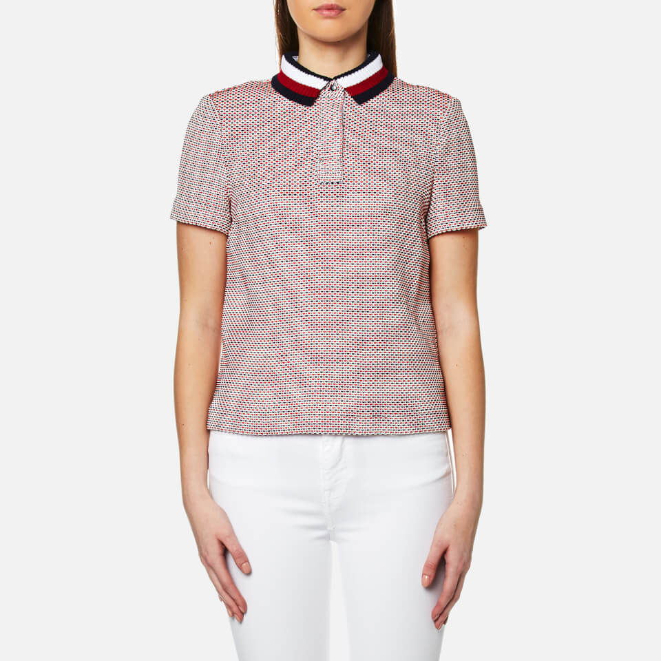 Tommy Hilfiger Womens Tricia Polo Shirt Classic White/fiery Red Uk 10/us 6