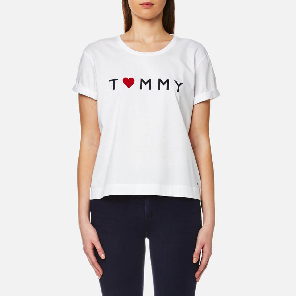 tommy hilfiger women 39 s tommy logo heart t shirt classic. Black Bedroom Furniture Sets. Home Design Ideas