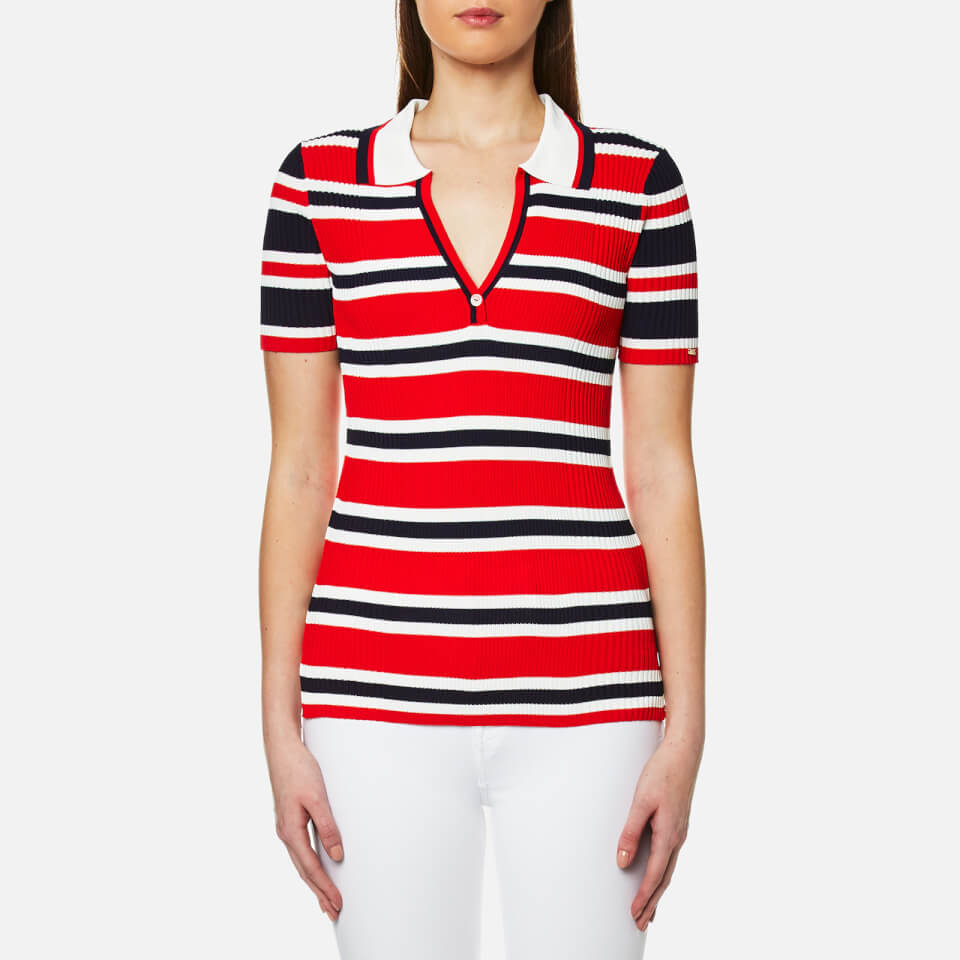 Tommy Hilfiger Womens Erin Stripe Polo Shirt Fiery Red/peacoat/snow White M