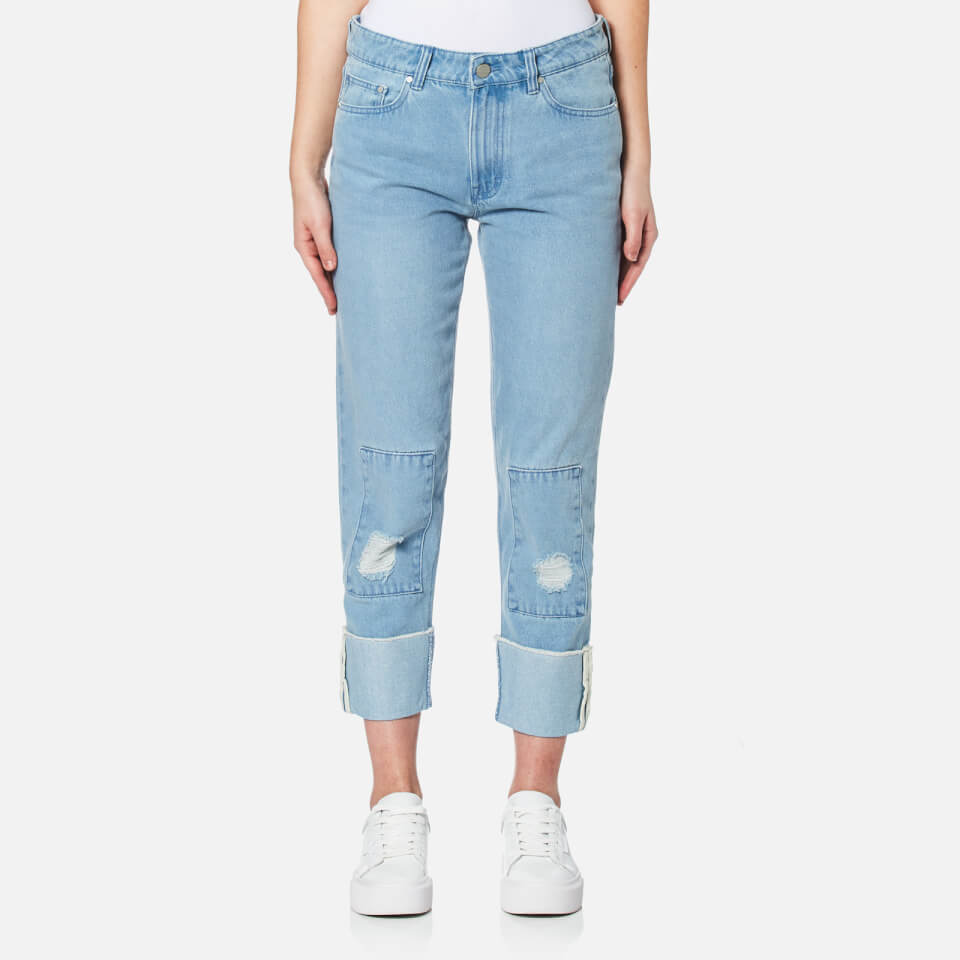 Waven Womens Aki True Boyfriend Jeans Allie Blue Patches Uk 6
