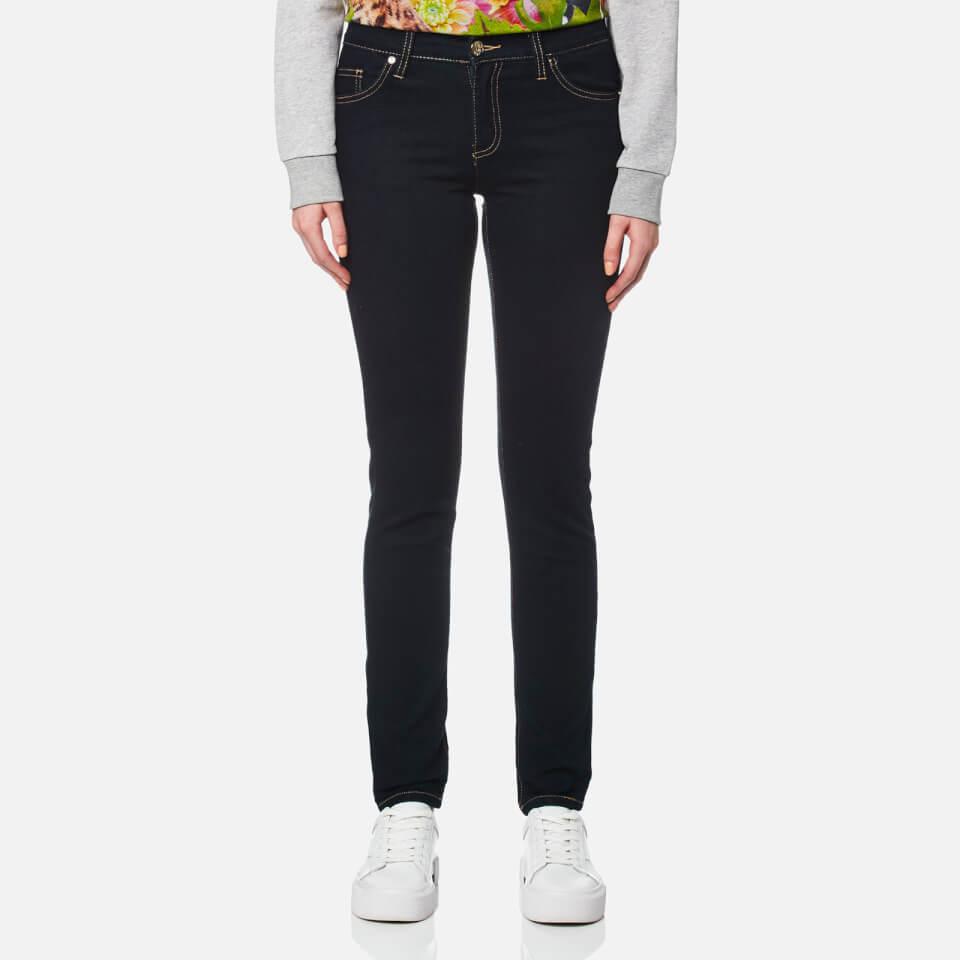 Versace Jeans Womens Sequin Logo Pocket Jeans Indigo W28