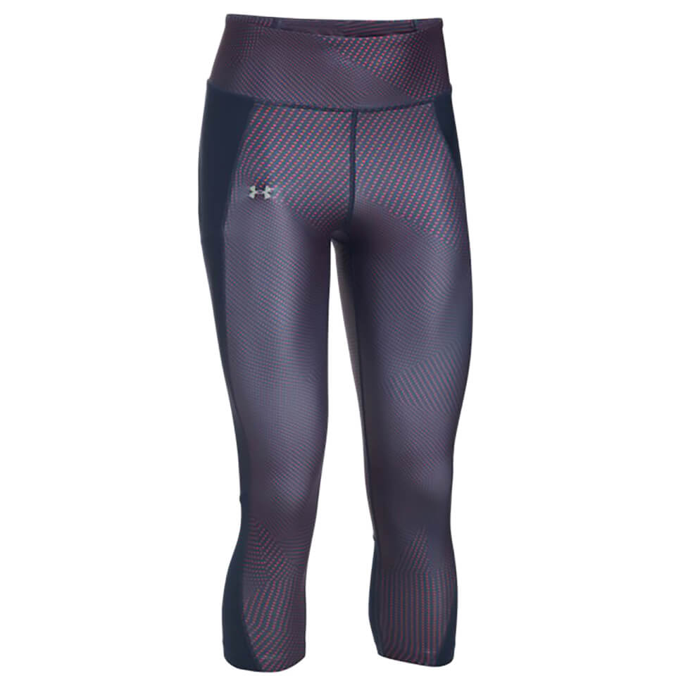 Under Armour Womens Fly-by Printed Run Capri Tights Midnight Navy Xs