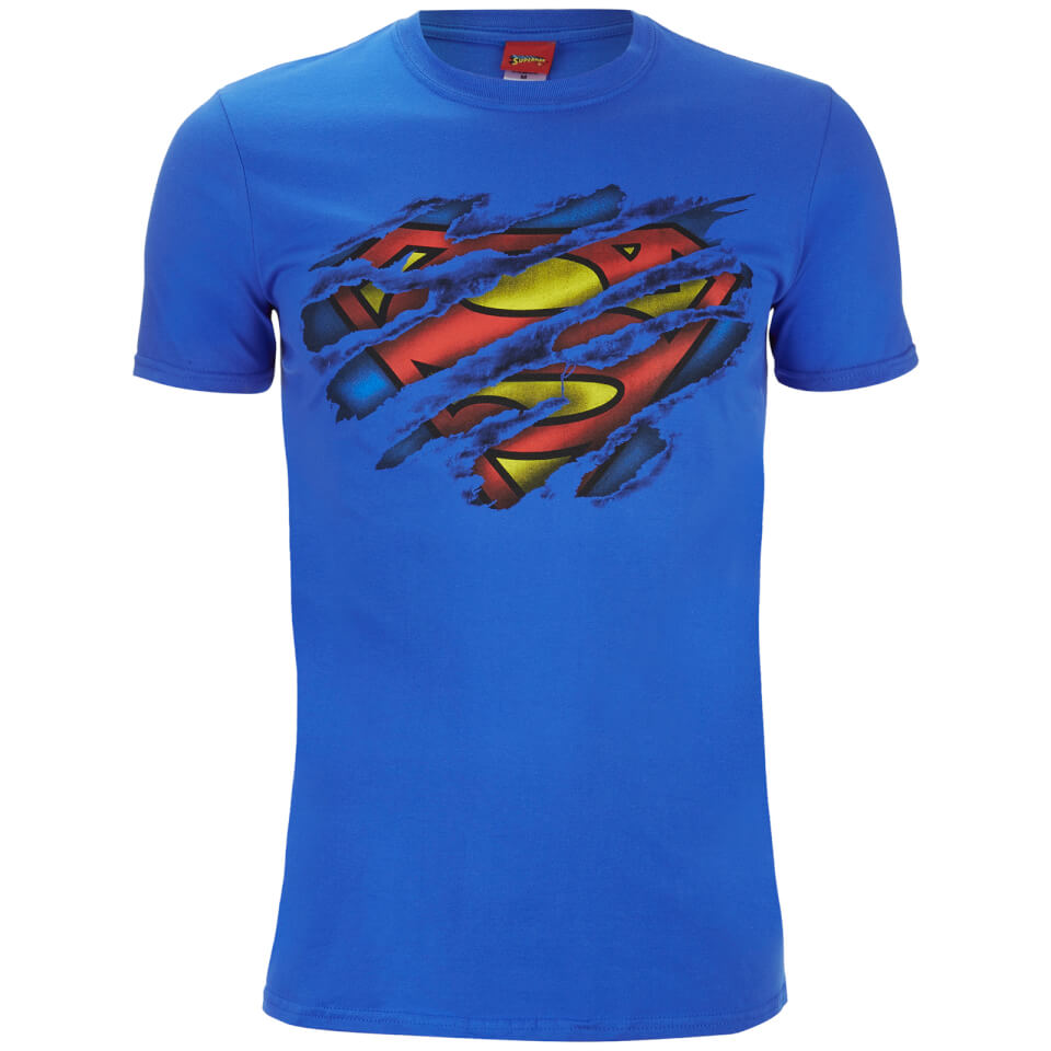Superman Men's Torn Logo T Shirt Royal Blau L Blau