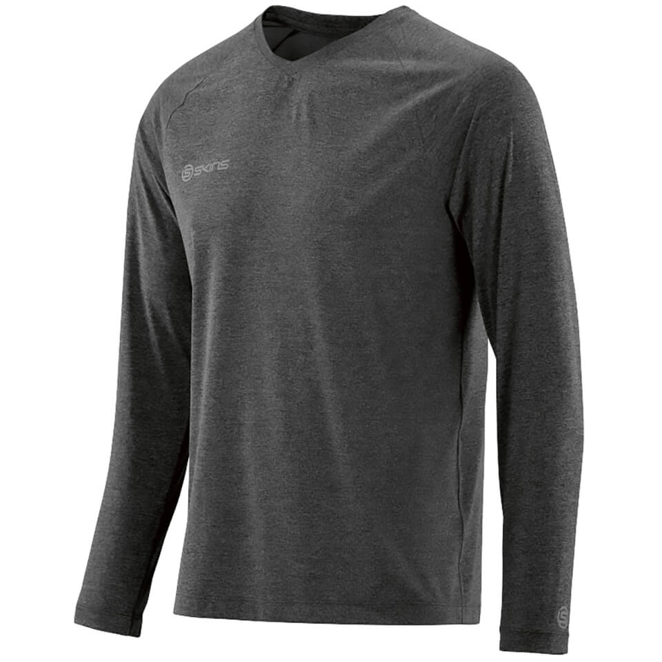 skins-plus-men-micron-long-sleeve-top-black-marle-xl-black