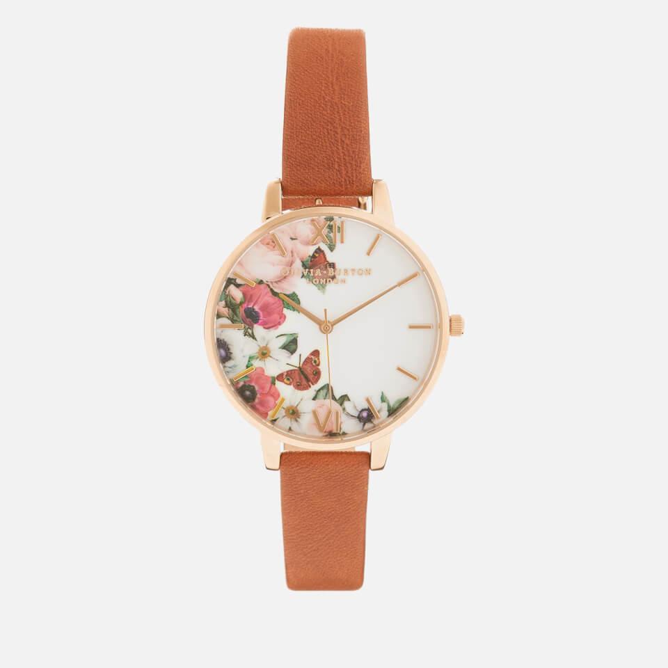 olivia burton womens english garden big dial watch tan