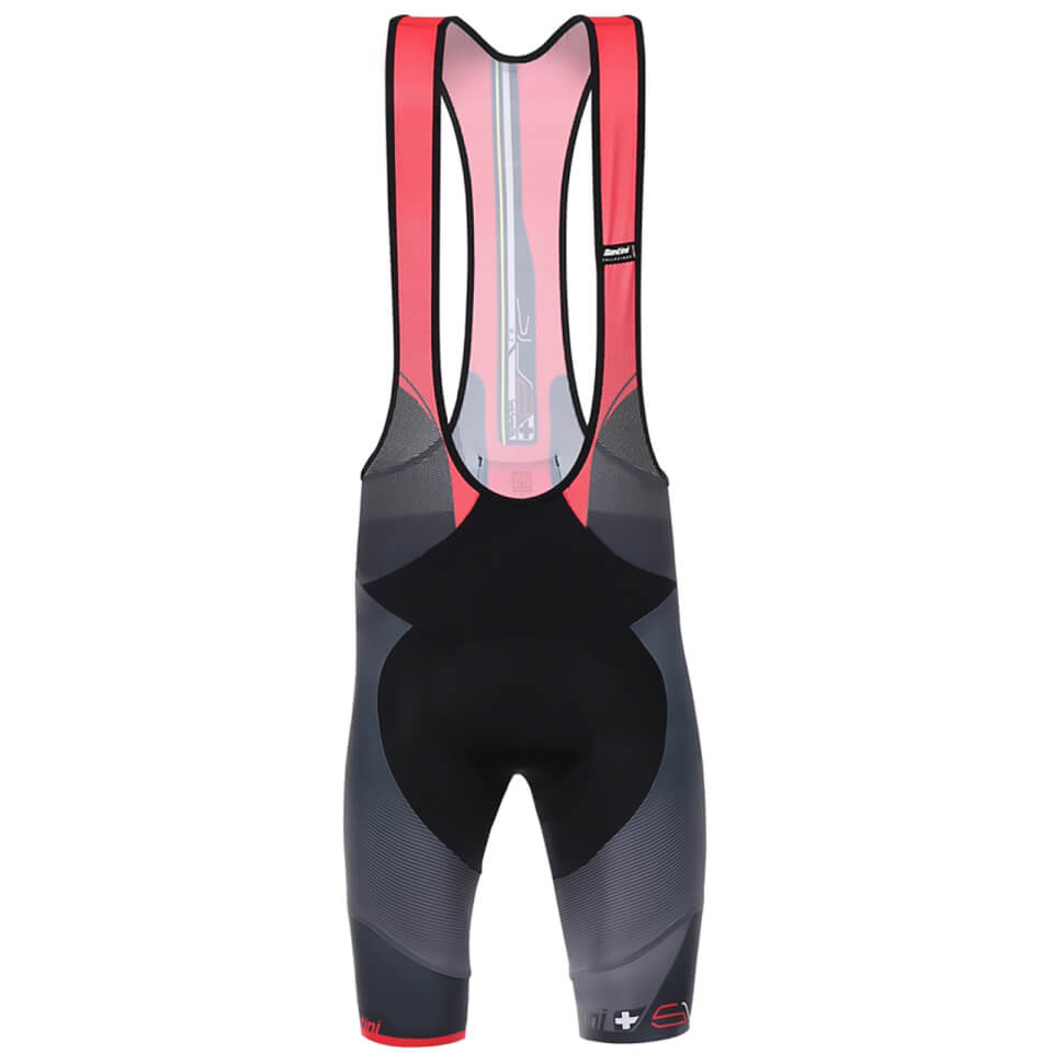 Santini Sleek Plus Bib Shorts - Black/Red - S