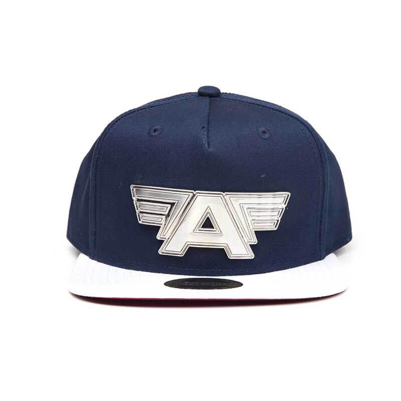 Marvel Captain America Civil War Metal Plate Logo Snapback Cap Blue White