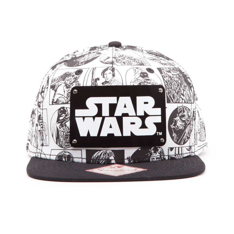 star-wars-comic-style-snapback-cap-with-metal-plate-logo-white-black