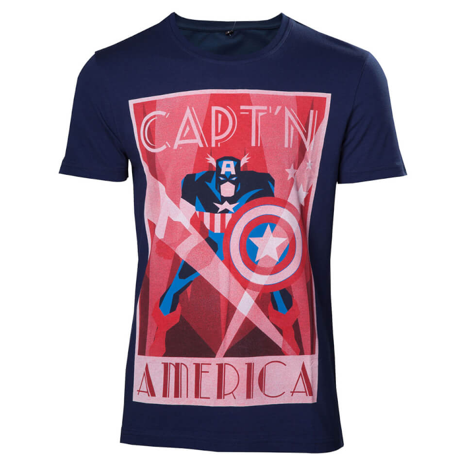 Marvel Men's Captain America T Shirt Navy M
