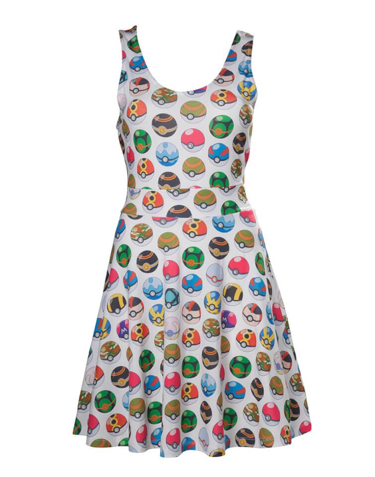 Vestido Pokémon Poké Balls - Mujer - Blanco - M - Blanco