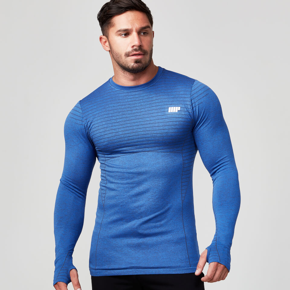 Image of Seamless Long Sleeve T-Shirt - Navy - L