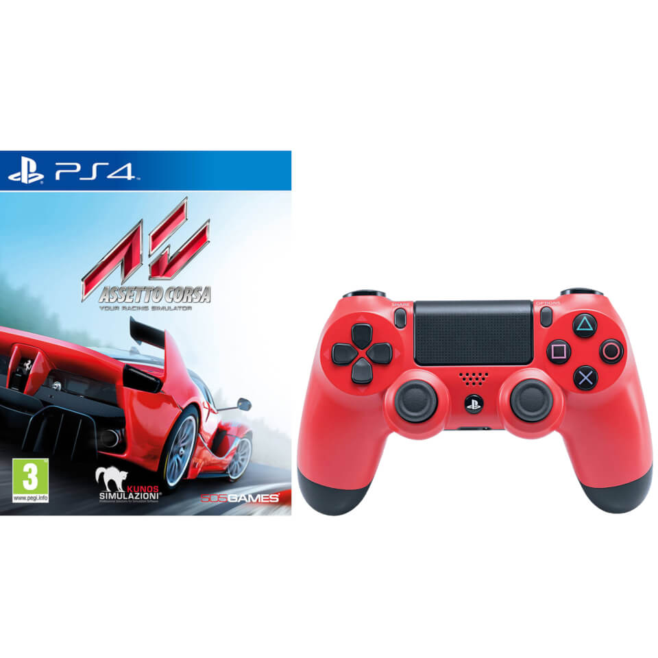 Assetto Corsa with Sony PlayStation 4 DualShock 4 V2 Controller Red