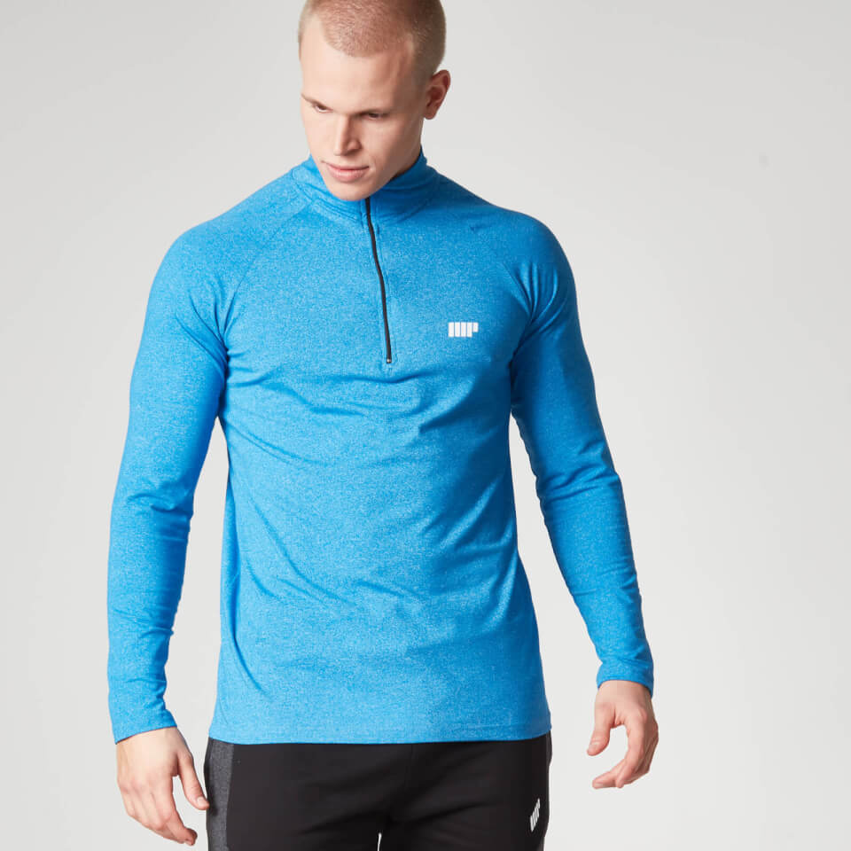 Foto Myprotein Men's Performance Long Sleeve 1/4 Zip Top, Blue Marl, XL Camicie e top