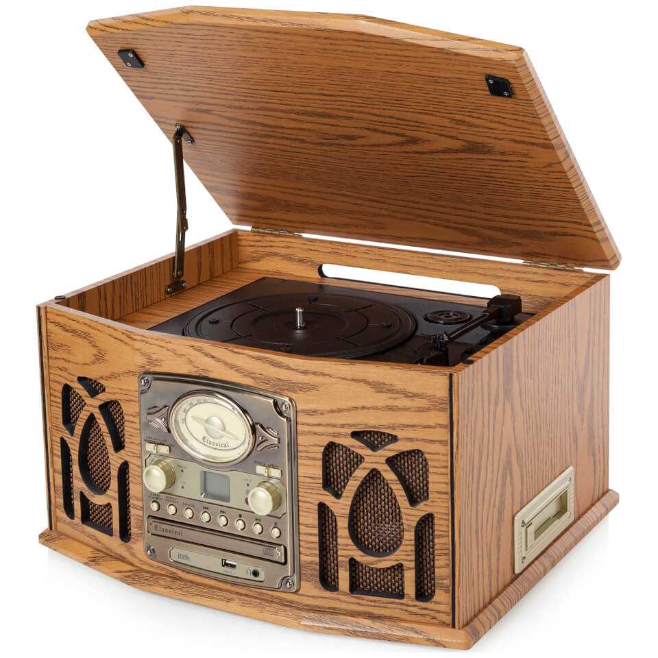 itek-retro-antique-vintage-5-in-1-music-system-cassette-cd-radio-headphone-jack-turntable-wood