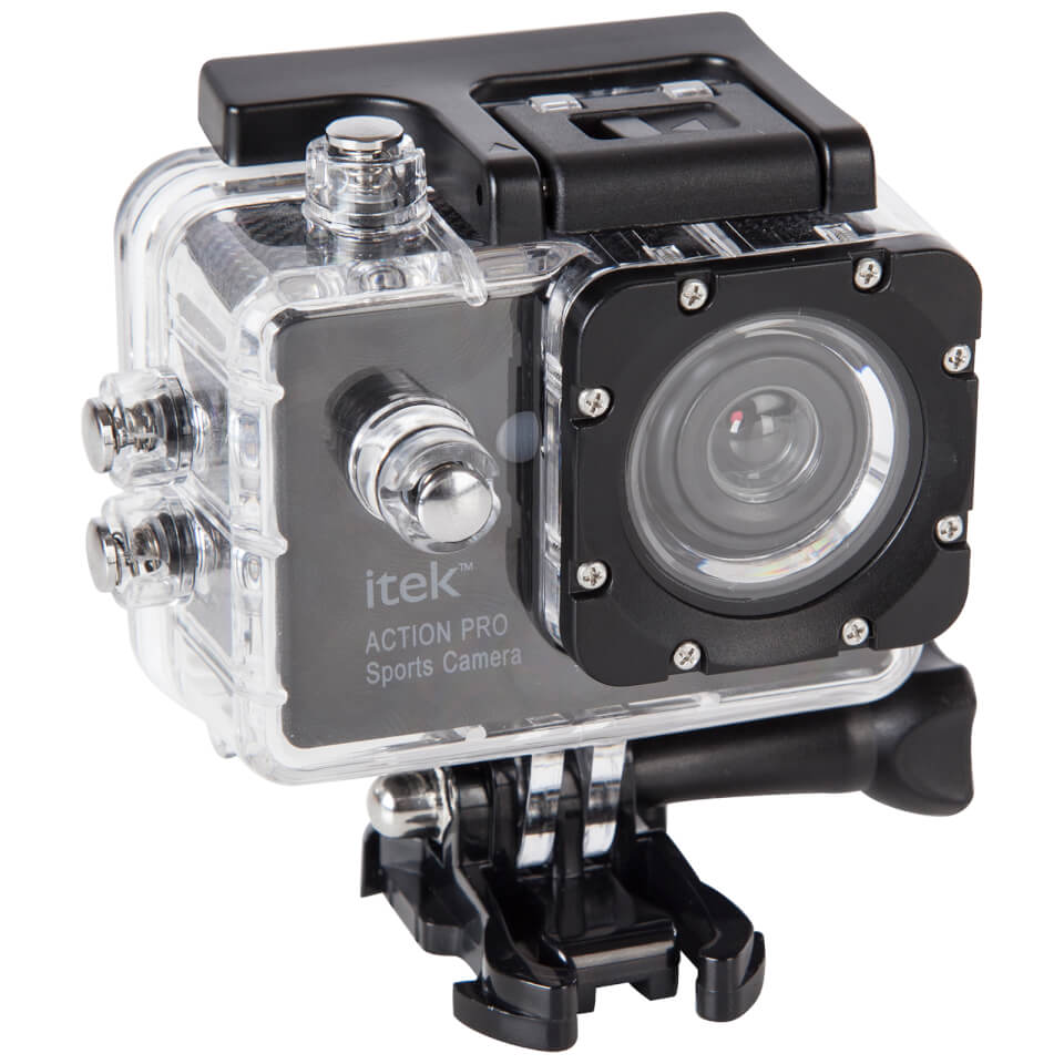 iTek 1080p Full HD Waterproof Action Camera (2 Inch Display) - Black