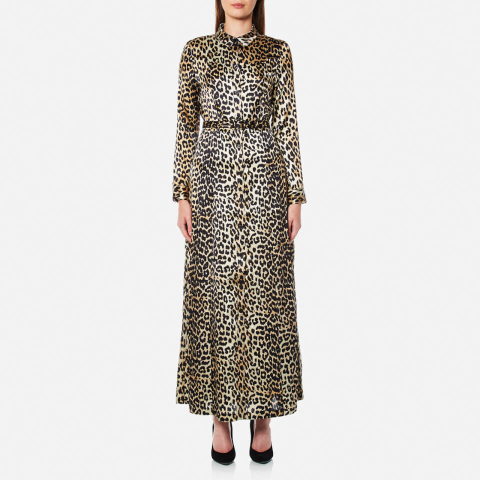 Ganni Womens Dufort Silk Dress Leopard Eu 38/uk 10