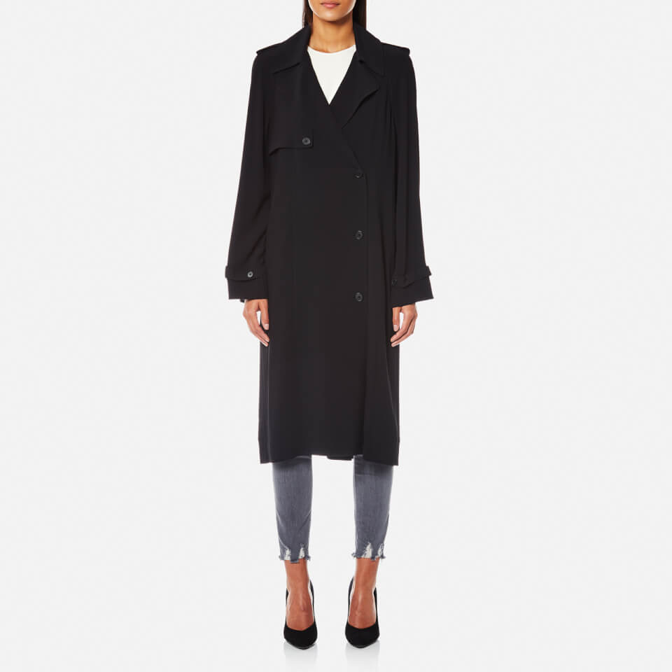 Helmut Lang Womens Trench Coat Dress With Satin Belt Black M