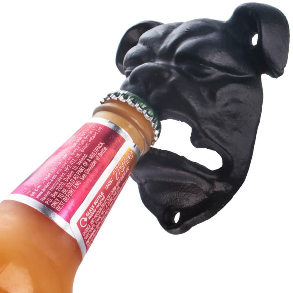 British Bulldog Wall Mounted Bottle Opener - Black