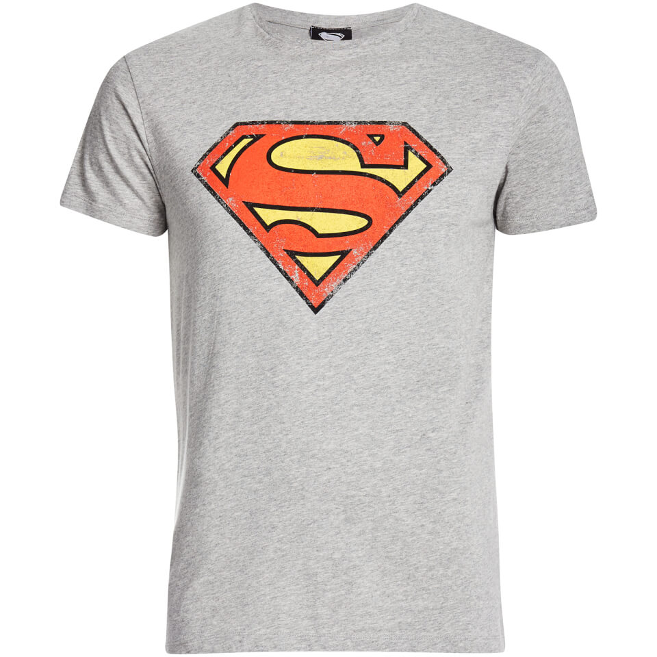 DC Comics Men's Superman Distressed Logo T Shirt Grey S