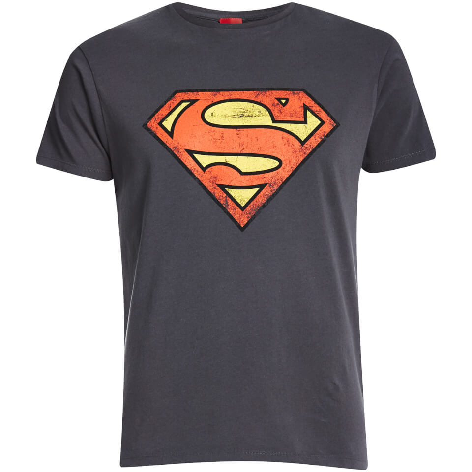 DC Comics Men's Superman Distressed Logo T Shirt Charcoal L