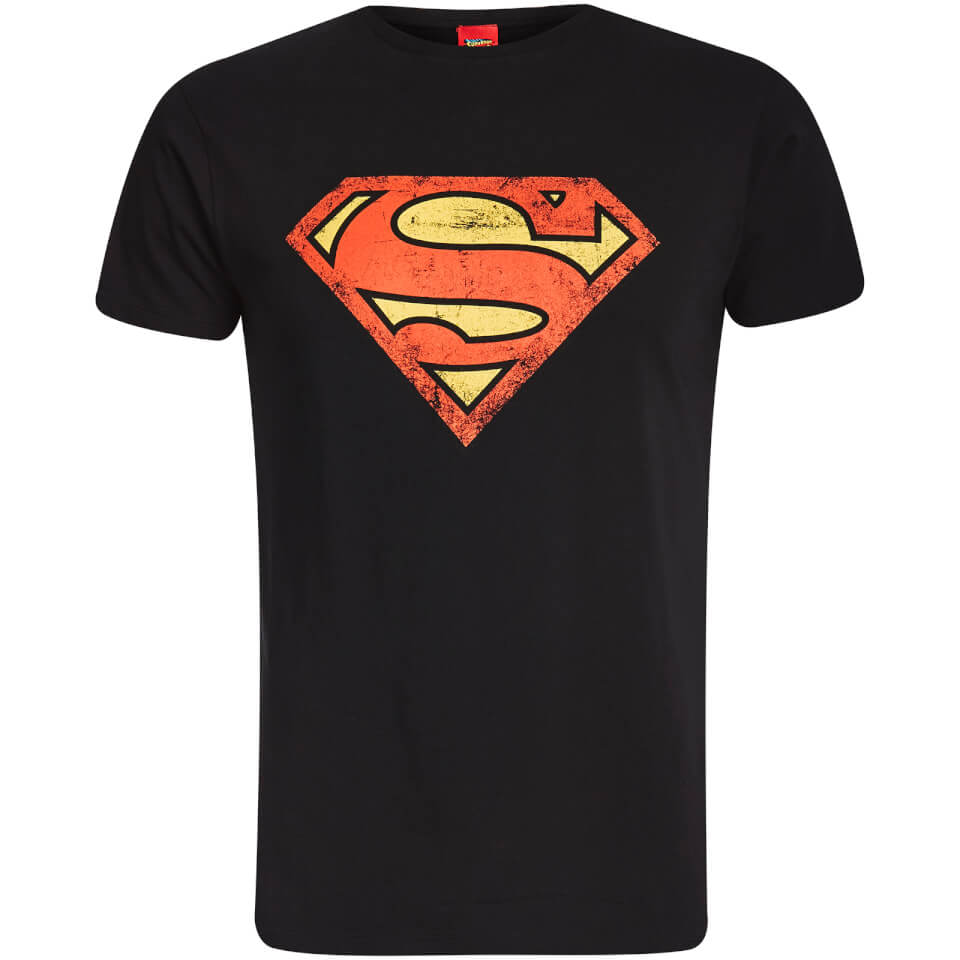 DC Comics Men's Superman Distressed Logo T Shirt Black L