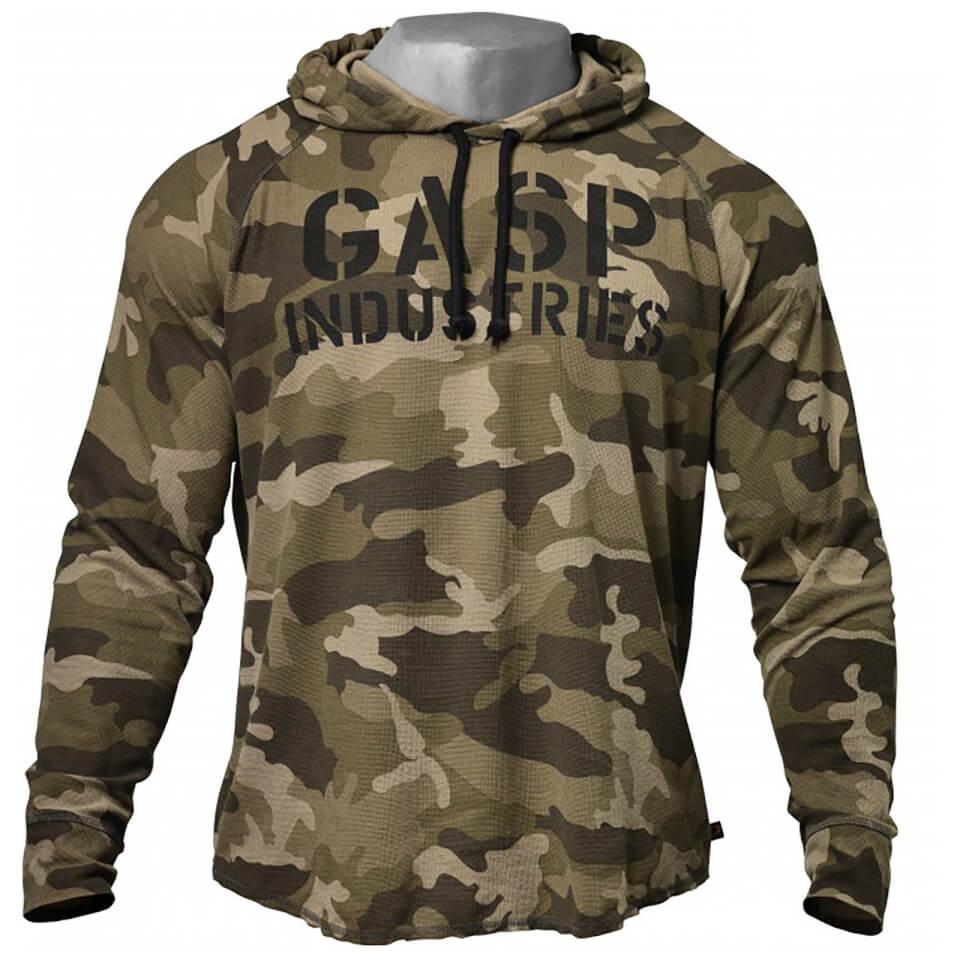 gasp-long-sleeve-thermal-hoody-green-camoprint-m-vihreae