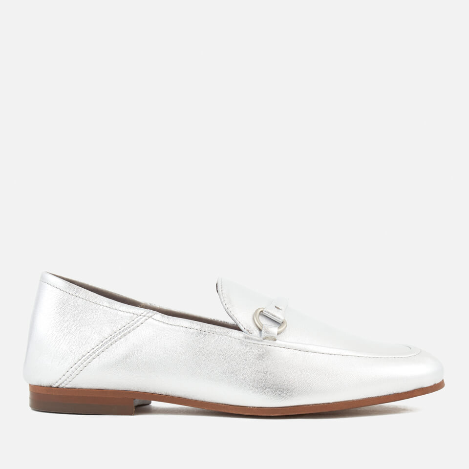 Hudson London Womens Arianna Leather Loafers Silver Uk 5